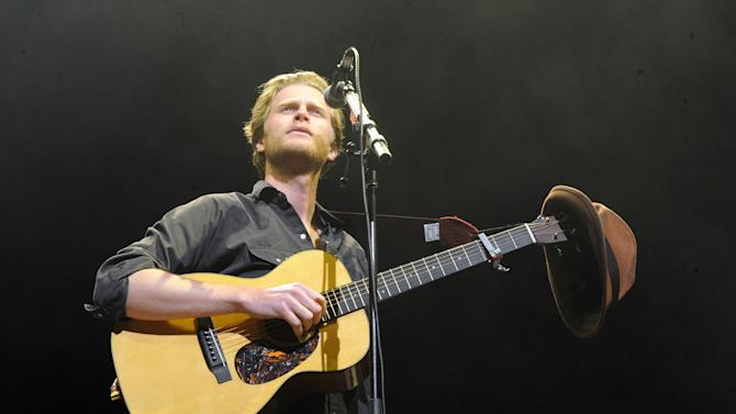 """FILE - In this Dec. 8, 2012 file photo, Wesley Schultz of The Lumineers performs at KROQ Almost Acoustic Christmas in Los Angeles. The Lumineers' """"Ho Hey"""" was the top streamed track on Spotify for the week of Dec. 23. (Photo by Katy Winn/Invision/AP, File)"""