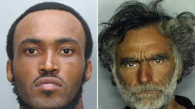 This combo made with undated photos made available by the Miami-Dade Police Dept. shows Rudy Eugene, 31, left, who police shot and killed as he ate the face of Ronald Poppo, 65, right, during a horrific attack in the shadow of the Miami Herald's headquarters on Saturday, May 26, 2012. Poppo was in critical condition Tuesday, with only his goatee intact on his face, the newspaper reported. (AP Photo/Miami-Dade Police Dept.)
