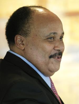 Bounce TV co-founder Martin Luther King, III, right, and Lenfest Broadcasting President Jon Gorchow meet before a news conference Thursday, Dec. 1, 2011, in Philadelphia. The nation's first broadcast network aimed at African-American audiences is now on the air in Philadelphia, the nation's fourth largest media market. Atlanta-based Bounce TV is an over-the-air free channel supported by sponsors and geared toward black viewers ages 25 to 54.  (AP Photo/Matt Rourke)