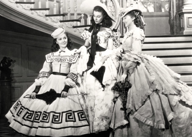 "This undated image from the film ""Gone with the Wind"" provided by New Line Cinema shows, from left, Ann Rutherford, Vivien Leigh and Evelyn Keyes. Rutherford, who played Scarlett O'Hara's sister Carre"