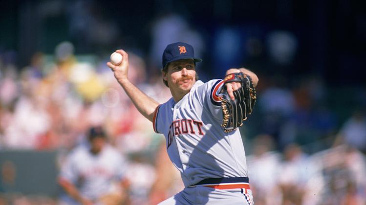 CHICAGO: Jack Morris of the Detroit Tigers pitches during an MLB game at Comiskey Park in Chicago, Illinois. Jack Morris played for the Detroit Tigers from 1977-1990. (Photo by Ron Vesely/MLB Photos via Getty Images)