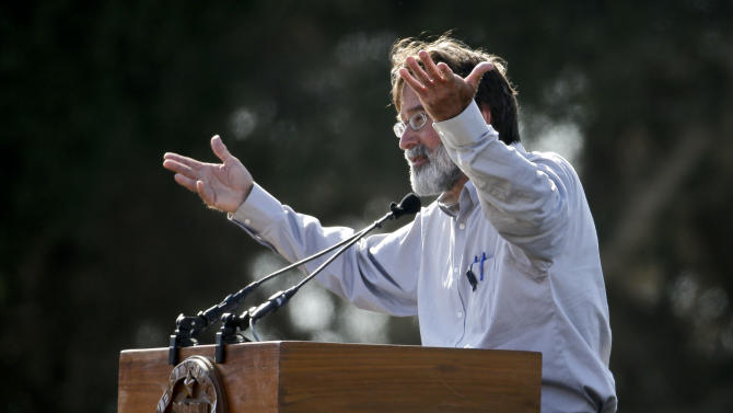 Richard Martinez during a memorial service for the victims and families