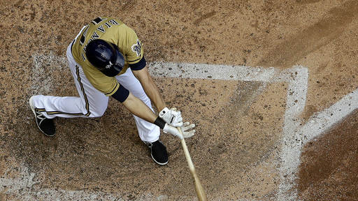 Bianchi's bloop single lifts Brewers over Nats 8-5