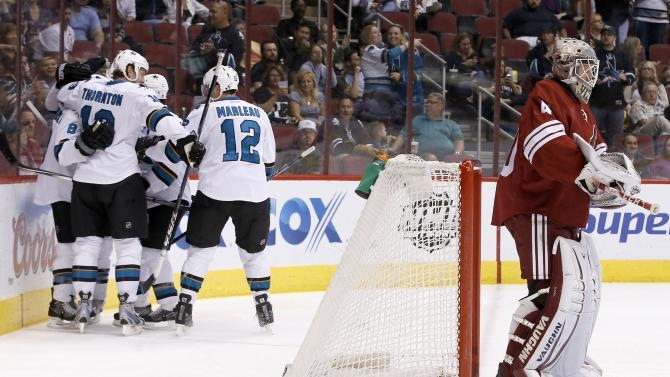 Sharks close season with 3-2 win over Coyotes