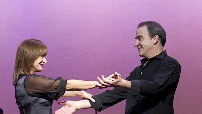 "In this theater image released by Boneau/Bryan-Brown, Mandy Patinkin, right, and Patti LuPone perform in ""An Evening with Patti LuPone and Mandy Patinkin""  at the Barrymore Theatre in New York. (AP Photo/Boneau/Bryan-Brown, Joan Marcus)"