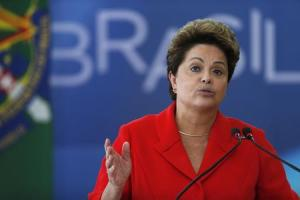 Brazil's President Dilma Rousseff speaks during the ceremony of the Sanction Law establishing the Regulatory Framework of Civil Society Organizations at the Planalto Palace in Brasilia