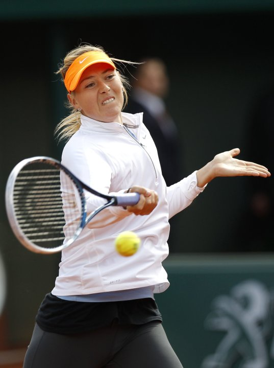 Sharapova of Russia practises during a training session for the French Open tournament at the Roland Garros stadium in Paris