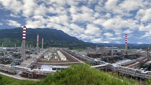Handout picture shows a gas purifying plant is seen at Sinopec's Puguang gas field in Dazhou