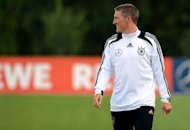 Germany's midfielder Bastian Schweinsteiger takes part in a training session at the EURO 2012 training camp on May 28, in Tourrettes, southeastern France