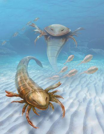 An artist's impression of a large, active predator called Pentecopterus decorahensis that lived 467 million years ago during the Ordovician Period