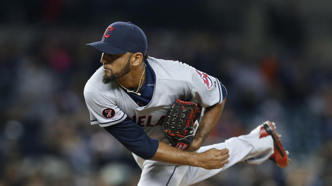 Cleveland Indians pitcher Danny Salazar throws against the Detroit Tigers in the fifth inning of a baseball game in Detroit, Friday, April 24, 2015. (AP Photo/Paul Sancya)
