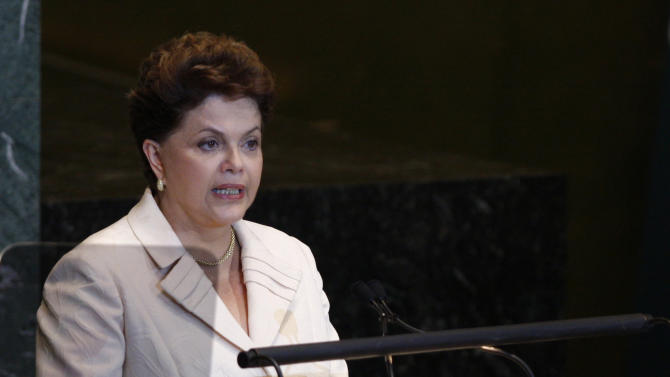 Brazilian President Dilma Rousseff speaks during a high-level meeting on nuclear safety and security at the 66th United Nations General Assembly at U.N. headquarters Thursday, Sept. 22, 2011. (AP Photo/Aaron Jackson)
