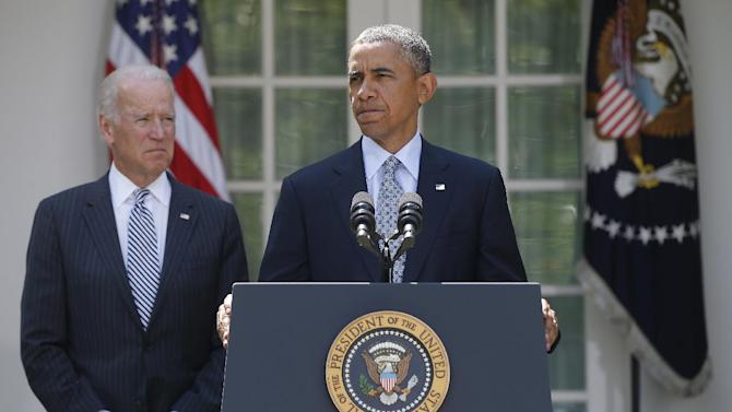 FILE - This June 30, 2014 file photo shows President Barack Obama as he stands with Vice President Joe Biden during a news conference in the Rose Garden at the White House in Washington. President Obama's request for billions of dollars to deal with tens of thousands of migrant children streaming across the border set off Democrats and Republicans. Lawmakers in both parties complained that the White House, six years in , still doesn't get it when it comes to working with Congress. (AP Photo/Charles Dharapak, File)