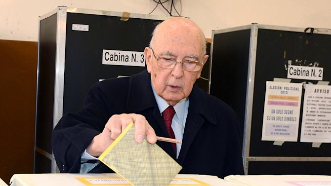 Italian President Giorgio Napolitano casts his ballot, in Rome, Italy, Sunday, Feb. 24, 2013. Italy votes in a watershed parliamentary election Sunday and Monday that could shape the future of one of Europe's biggest economies. (AP Photo/Antonio Di Gennario, Italian Presidential press service, ho)