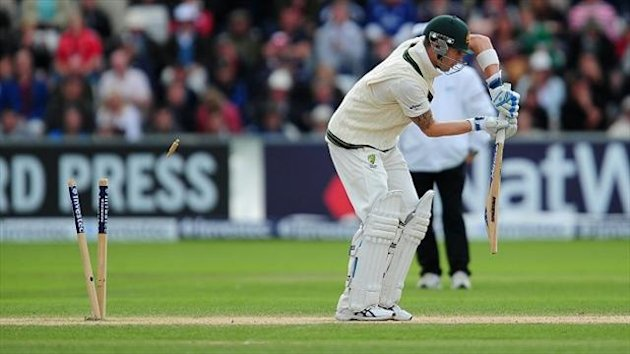 Michael Clarke, pictured, was bowled by a gem of a delivery by Stuart Broad