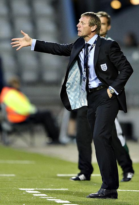 (FILES) In A File Picture Taken On June 19, 2011 England Coach Stuart Pearce Gestures AFP/Getty Images