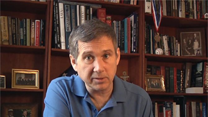 This photo taken from video provided Aug. 5, 2012 by Sen. Mark Kirk's office, shows Sen. Mark Kirk at his home in Fort Sheridan, Ill. Kirk is making excellent progress as he recovers from a stroke he suffered in January, according to medical experts not involved in his care who watched a video provided this week by the Illinois Republican's office.(AP Photo/Courtesy Sen. Mark Kirk's office)