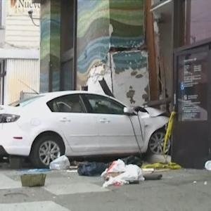 Raw Video: Car Crashes Into Bank In San Francisco's Outer Mission Neighborhood