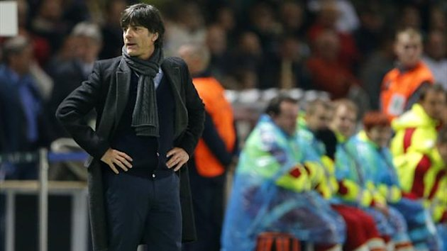 Germany's head coach Joachim Loew reacts during the World Cup 2014 Group C qualifying match against Sweden in Berlin October 16, 2012. The match ended in a 4-4 draw.