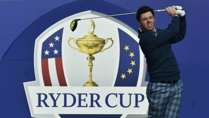 European Ryder Cup player Rory McIlroy watches his tee shot during practice ahead of the 2014 Ryder Cup at Gleneagles