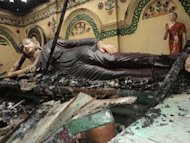 The burnt Buddhist temple of Shima Bihar in Ramu. The violence was sparked by claims that a young Buddhist man had posted a photo allegedly defaming the Koran on Facebook