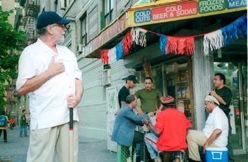 Tomas Milian as Eddie Ramirez with the Bodega guys in MAC's Washington Heights