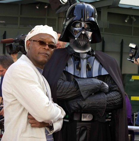 Samuel L. Jackson and Darth Vader at the Grauman&#39;s Chinese Theater in Hollywood, May 2002 -- Getty Premium
