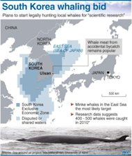 Graphic showing South Korea&#39;s exclusive economic zone, where legal whale hunting might resume, according to a plan announced by South Korean delegates at the International Whaling Commission in Panama