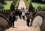 US Secretary of State Hillary Clinton tours the Ho Phra Keo Temple in Vientiane, Laos. Clinton became the first US secretary of state to visit Laos for 57 years, on a trip focused on the damaging legacy of the Vietnam War and a controversial dam project