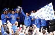 Wigan Athletic manager Roberto Martinez (centre) during the FA Cup trophy parade in Wigan.