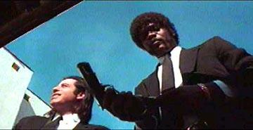 John Travolta as Vincent and Samuel L. Jackson as Jules in Miramax's Pulp Fiction