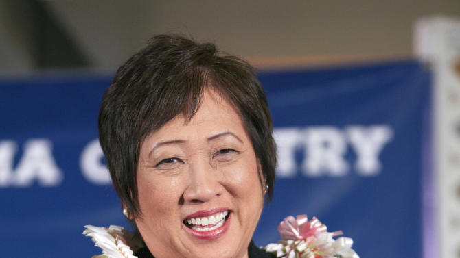 File - In this Nov. 6, 2012 file photo, Democrat Colleen Hanabusa speaks after winning Hawaii 1st Congressional district seat at the Japanese Cultural Center in Honolulu. The Hawaii Democratic party is taking applications for the U.S. Senate seat left vacant by the death this week of Daniel Inouye. Inouye asked the governor to choose U.S. Rep. Colleen Hanabusa, who is expected to apply, but the party is obligated to put forth three names for consideration. (AP Photo/Marco Garcia, File)