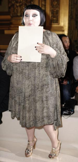 US singer Beth Ditto at the Stella McCartney's spring-summer 2011 ready to wear fashion collection show,  presented in Paris, Monday, Oct .4, 2010. (AP Photo/Thibault Camus)