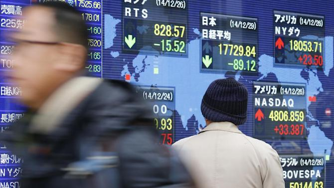 A man watches an electronic stock indicator of a securities firm in Tokyo, Monday, Dec. 29, 2014. Asian stocks were mostly higher Monday after a report China will change banking rules in an apparent effort to boost lending and economic growth as oil prices rebounded. (AP Photo/Shizuo Kambayashi)