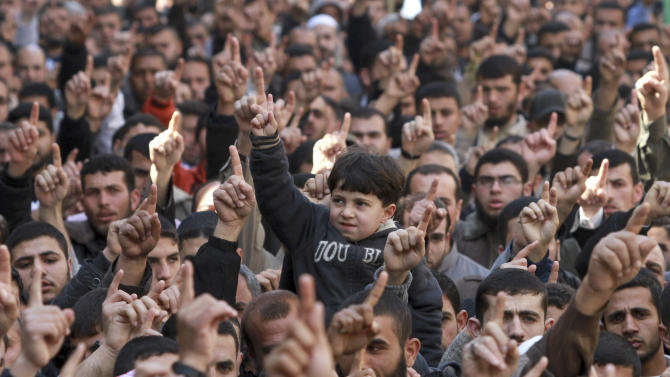 Palestinians hold a rally demanding Egypt provide the Gaza Strip with electricity and diesel in Jabaliya Refugee Camp, Friday, March 23, 2012. (AP photo/Hatem Moussa)