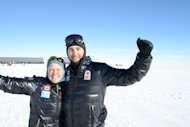 Dale and Dr. Ross celebrate finally reaching the South Pole.
