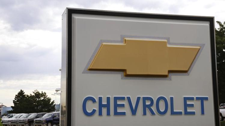 The sign at a General Motors Chevrolet dealer is pictured in Golden