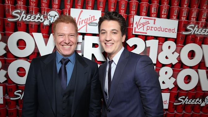 """Relativity Media's Ryan Kavanaugh and Miles Teller at the LA premiere of """"21 and Over"""" at the Westwood Village Theatre on Thursday, Feb. 21, 2013 in Los Angeles. (Photo by Eric Charbonneau/Invision/AP)"""