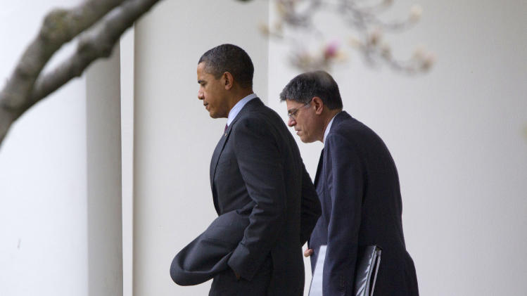 President Barack Obama and White House Chief of Staff Jack Lew walk out of the Oval Office of the White House in Washington, Friday, March, 2, 2012. Obama is traveling to the Walter Reed National Military Medical Center in Bethesda, Md., to visit with wounded service members. (AP Photo/Pablo Martinez Monsivais)