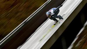 Austria's Morgenstern speeds down the ski jump during the first training jump for the fourth jumping of the four-hills tournament in Bischofshofen