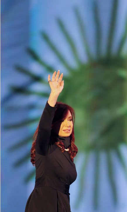 Argentina's President Fernandez de Kirchner waves during a rally outside the Casa Rosada Presidential Palace in Buenos Aires