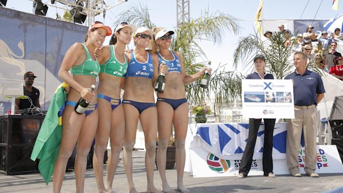 Taiana Lima and Talita Antunes of Brazil and Jennifer Kessy and April Ross of USA pose at Celebrity Cruises' Taste of Modern Luxury Culinary & Spa Tour at World Series of Beach Volleyball Finals on Sunday July 28, 2013 in Long Beach, Calif. (Photo by Todd Williamson/Invision for Celebrity Cruises/AP)