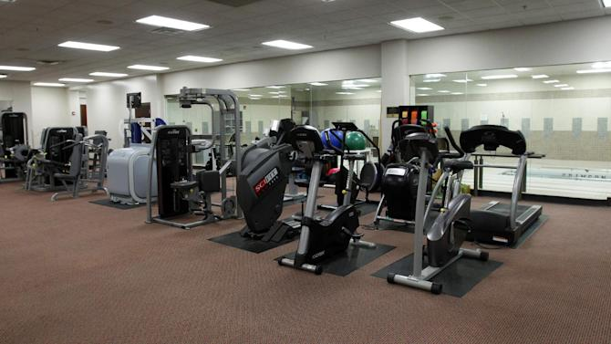 This Dec. 21, 2012, photo shows one of the strength and conditioning areas as part of the University of Alabama athletic facilities in Tuscaloosa, Ala. (AP Photo/Butch Dill)