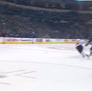 Dustin Byfuglien fires a rocket into the net