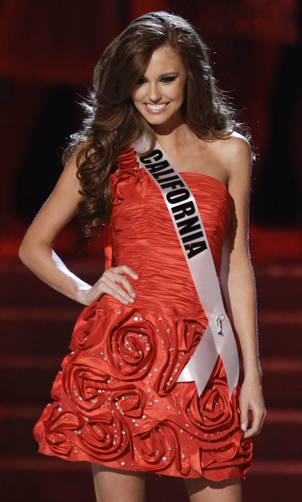 Alyssa Campanella, Miss California, is introduced as one of the quarterfinals in the Miss USA pageant, Sunday, June 19, 2011, in Las Vegas.  (AP Photo/Julie Jacobson)