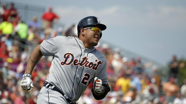 Detroit Tigers' Miguel Cabrera hits a two-run home run in the third inning of an exhibition spring training baseball game against the St. Louis Cardinals, Monday, March 10, 2014, in Jupiter, Fla