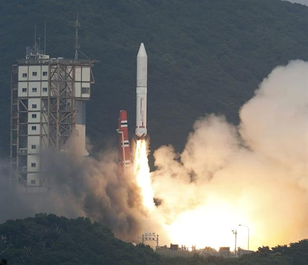 An Epsilon rocket lifts off from the Uchinoura Space Center in Kimotsuki town, Kagoshima, western Japan Saturday, Sept. 14 2013. Japan launched the new rocket it hopes will be a cheaper and more effic