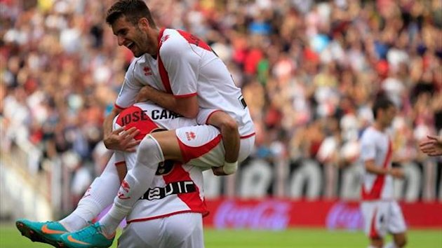 Rayo Vallecano players celebrate