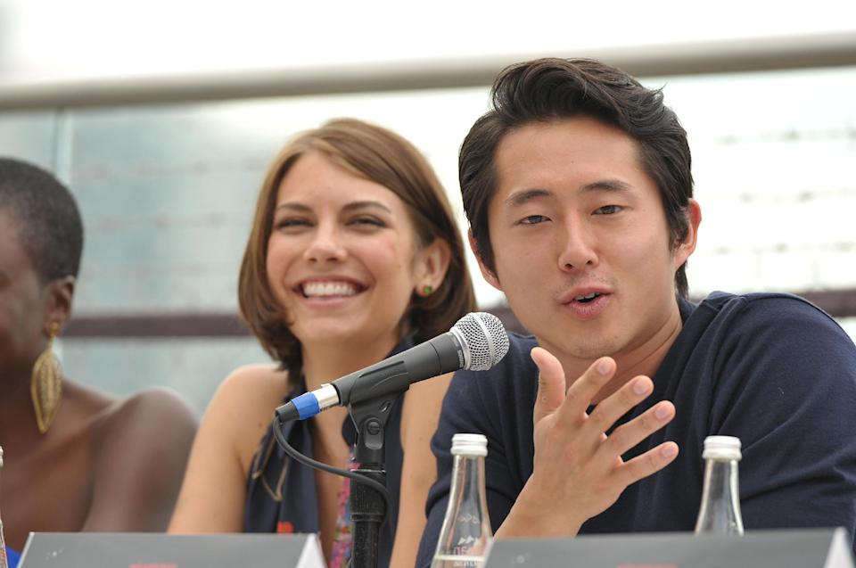 "COMMERCIAL IMAGE -  Lauren Cohan and Steven Yeun at AMC's ""The Walking Dead"" Fox Breakfast on Friday July 13, 2012, in San Diego. (Photo by John Shearer/Invision for AMC/AP Images)"