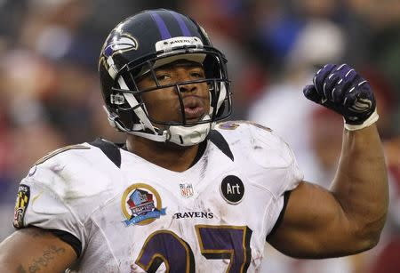 File of Baltimore Ravens running back Ray Rice celebrating his touchdown against the Washington Redskins their NFL football game in Landover Maryland